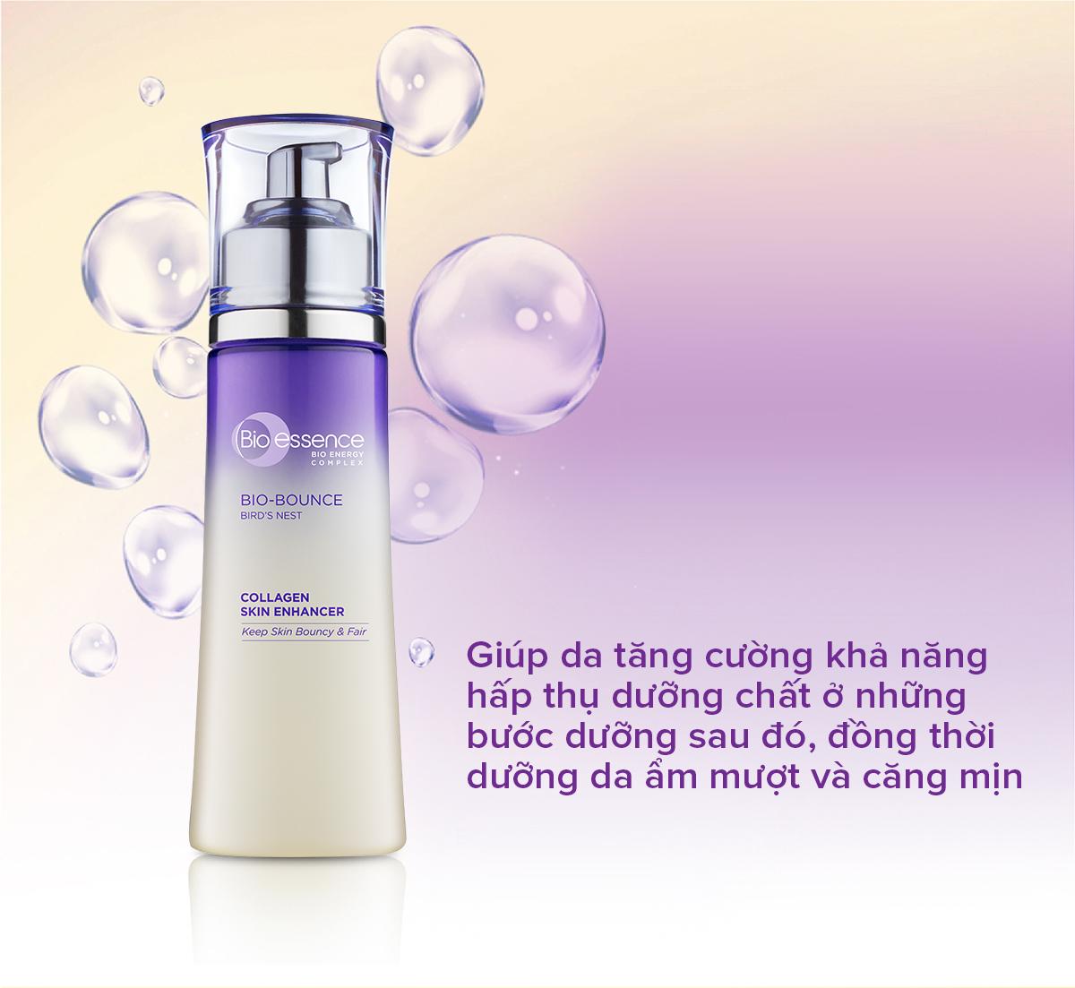 Nước cân bằng dưỡng da tươi sáng và căng mọng chiết xuất Tinh chất Tổ yến  và Collagen - Bio-essence